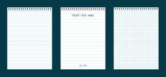 Διανυσματικό σύνολο σελίδων σημειώσεων Στοκ φωτογραφία με δικαίωμα ελεύθερης χρήσης