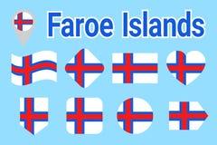 Διανυσματικό σύνολο σημαιών Νησιών Φερόες, Faroese συλλογή εθνικών σημαιών Οριζόντια απομονωμένα εικονίδια Όνομα χώρας στα παραδο ελεύθερη απεικόνιση δικαιώματος