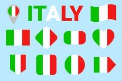 Διανυσματικό σύνολο σημαιών της Ιταλίας Συλλογή των ιταλικών εθνικών σημαιών Οριζόντια απομονωμένα εικονίδια Όνομα χώρας στα παρα απεικόνιση αποθεμάτων