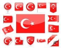 Διανυσματικό σύνολο σημαιών της Τουρκίας Στοκ Εικόνες