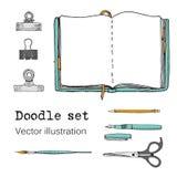 Διανυσματικό σύνολο σημειωματάριων, σημειωματάριων και ημερολογίων σκίτσων Ουσία γραφείων Χαρτικά Doodle, μάνδρα, μολύβι, ψαλίδι  διανυσματική απεικόνιση