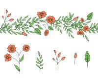 Διανυσματικό σύνολο στοιχείων σχεδίου εγκαταστάσεων κήπων και βούρτσας σχεδίων Συρμένη χέρι απεικόνιση ύφους κινούμενων σχεδίων Χ διανυσματική απεικόνιση