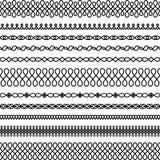 Διανυσματικό σύνολο στριμμένων και κυματιστών βουρτσών ελεύθερη απεικόνιση δικαιώματος