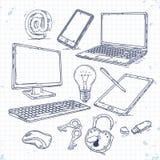 Διανυσματικό σύνολο συρμένης χέρι τεχνολογίας υπολογιστών εικονιδίων Στοκ Φωτογραφία