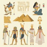 Διανυσματικό σύνολο ταξιδιού της Αιγύπτου Αιγυπτιακά παραδοσιακά εικονίδια στο επίπεδο σχέδιο Έμβλημα διακοπών Διακοπές και καλοκ Στοκ φωτογραφία με δικαίωμα ελεύθερης χρήσης