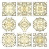 Διανυσματικό σύνολο τετραγωνικών χρυσών σχεδίων της ασιατικής διακόσμησης απεικόνιση αποθεμάτων
