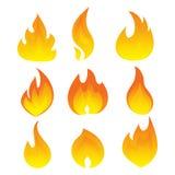 Διανυσματικό σύνολο φλόγας Μια συλλογή των τυποποιημένων πυρκαγιών αφαιρέστε την πυρκαγιά Στοκ Εικόνες
