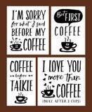 Διανυσματικό σύνολο φράσεων χρονικής εγγραφής καφέ διασκέδασης Στοκ Εικόνες