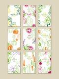Διανυσματικό σύνολο φωτεινών κάθετων καρτών με τα φρέσκα λαχανικά Οργανικά αγροτικά τρόφιμα Χορτοφάγος διατροφή Συρμένο χέρι σχέδ διανυσματική απεικόνιση