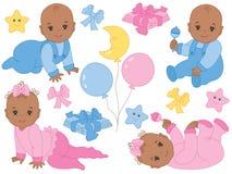 Διανυσματικό σύνολο χαριτωμένων αγοράκι και κοριτσάκι αφροαμερικάνων Διανυσματικό ντους μωρών διανυσματική απεικόνιση