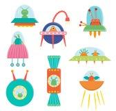Διανυσματικό σύνολο χαριτωμένων αλλοδαπών, ufo, πετώντας πιατάκι για τα παιδιά διανυσματική απεικόνιση