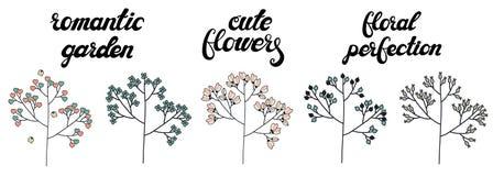 Διανυσματικό σύνολο χαριτωμένων δέντρων doodle που απομονώνεται στο άσπρο υπόβαθρο διανυσματική απεικόνιση