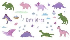Διανυσματικό σύνολο χαριτωμένων δεινοσαύρων με τα σύννεφα, αυγά, κόκκαλα, πουλιά για τα παιδιά απεικόνιση αποθεμάτων