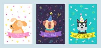 Διανυσματικό σύνολο χαριτωμένων ευχετήριων καρτών με το σκυλί Στοκ φωτογραφία με δικαίωμα ελεύθερης χρήσης