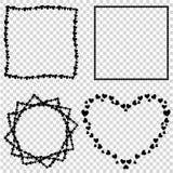 Διανυσματικό σύνολο χαριτωμένων μαύρων συνόρων καρδιών αγάπης για τους βαλεντίνους, γαμήλιο σχέδιο απεικόνιση αποθεμάτων