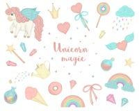 Διανυσματικό σύνολο χαριτωμένων μονοκέρων ύφους watercolor, ουράνιο τόξο, σύννεφα, donuts, κορώνα, κρύσταλλα, καρδιές διανυσματική απεικόνιση