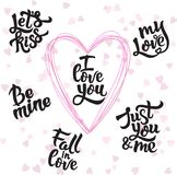 Διανυσματικό σύνολο χειρόγραφου θετικού αποσπάσματος εγγραφής για την αγάπη στην ημέρα βαλεντίνων στοκ φωτογραφία με δικαίωμα ελεύθερης χρήσης