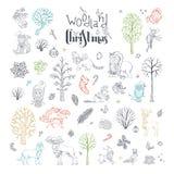 Διανυσματικό σύνολο Χριστουγέννων doodles δασόβιο απεικόνιση αποθεμάτων