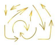 Διανυσματικό σύνολο χρυσών βελών ζωγραφικής, λαμπρή συλλογή εικονιδίων Στοκ εικόνα με δικαίωμα ελεύθερης χρήσης