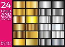 Διανυσματικό σύνολο χρυσών και ασημένιων κλίσεων, χρυσής και ασημένιας συλλογής τετραγώνων, ομάδα συστάσεων Στοκ Φωτογραφία
