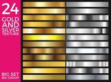 Διανυσματικό σύνολο χρυσών και ασημένιων κλίσεων, χρυσής και ασημένιας συλλογής τετραγώνων, ομάδα συστάσεων Στοκ Εικόνες