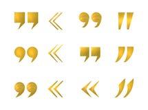 Διανυσματικό σύνολο χρυσών σημαδιών αποσπάσματος που απομονώνονται στο άσπρο υπόβαθρο, Στοκ Εικόνες