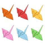 Διανυσματικό σύνολο χρωματισμένων Origami γερανών εγγράφου Στοκ Εικόνα