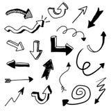 Διανυσματικό σύνολο Doodle βελών διανυσματική απεικόνιση