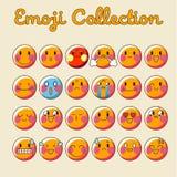 Διανυσματικό σύνολο Emoji Επίπεδη συλλογή Emoji εικονιδίων Emoticon - διάνυσμα ελεύθερη απεικόνιση δικαιώματος