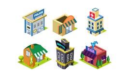 Διανυσματικό σύνολο isometric στοιχείων κατασκευαστών πόλεων κοινό κτηρίων Αστυνομία, αγορά, hairdressing σαλόνι ελεύθερη απεικόνιση δικαιώματος