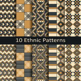 Διανυσματικό σύνολο δέκα άνευ ραφής εθνικών αφρικανικών σχεδίων Στοκ Εικόνες