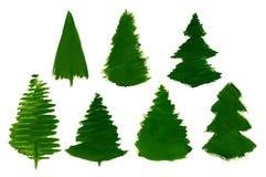 Διανυσματικό σύνολο 7 δέντρων πεύκων κινούμενων σχεδίων που χρωματίζονται που απομονώνεται Στοκ φωτογραφίες με δικαίωμα ελεύθερης χρήσης