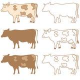 Διανυσματικό σύνολο αγελάδων Στοκ Φωτογραφίες