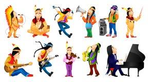 Διανυσματικό σύνολο αμερικανικών απεικονίσεων μουσικής Ινδών ελεύθερη απεικόνιση δικαιώματος