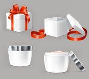 Διανυσματικό σύνολο απεικονίσεων για τα εμπορευματοκιβώτια καλλυντικών Στοκ φωτογραφία με δικαίωμα ελεύθερης χρήσης