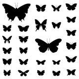 Διανυσματικό σύνολο απεικόνισης σκιαγραφιών πεταλούδων Στοκ Εικόνες