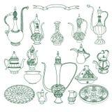 Διανυσματικό σύνολο αραβικών πιατικών Ασιατική απεικόνιση πιάτων αγγειοπλαστικής ελεύθερη απεικόνιση δικαιώματος