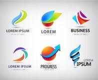 Διανυσματικό σύνολο αφηρημένου σχεδίου λογότυπων, εικονίδια Ιστού τρισδιάστατα πρότυπα, ζωηρόχρωμα σύμβολα για την επιχείρηση ide Στοκ φωτογραφίες με δικαίωμα ελεύθερης χρήσης