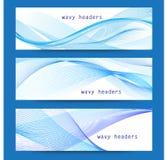 Διανυσματικό σύνολο αφηρημένων μπλε κυματιστών επιγραφών απεικόνιση αποθεμάτων