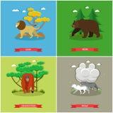 Διανυσματικό σύνολο αφισών ζώων Το λιοντάρι, αντέχει, orangutan, wolfs Στοκ Εικόνες