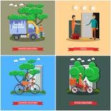 Διανυσματικό σύνολο αφισών παράδοσης στο επίπεδο ύφος ελεύθερη απεικόνιση δικαιώματος