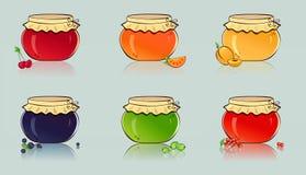 Διανυσματικό σύνολο βάζων με τη μαρμελάδα μούρων και φρούτων. Στοκ εικόνα με δικαίωμα ελεύθερης χρήσης