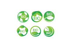 Διανυσματικό σύνολο βιο, οργανικού, Eco, πράσινο φύλλο, φυσικό, η βιολογία, καρδιά, ετικέτες συμβόλων wellness Στοκ Φωτογραφίες