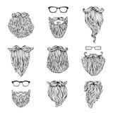 Διανυσματικό σύνολο γενειάδων και eyeglasses hipster Στοκ Εικόνες