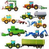 Διανυσματικό σύνολο γεωργικών οχημάτων και αγροτικών μηχανών απομονωμένος Στοκ Εικόνες
