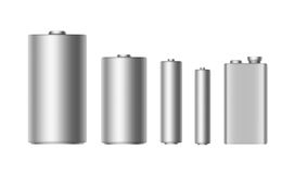 Διανυσματικό σύνολο γκρίζων ασημένιων αλκαλικών μπαταριών διαφορετικού στενού επάνω Αντιαεροπορικού Πυροβολικού, AA, Γ, Δ, PP3 κα ελεύθερη απεικόνιση δικαιώματος