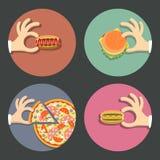 Διανυσματικό σύνολο γρήγορου φαγητού εικονιδίων Στοκ φωτογραφία με δικαίωμα ελεύθερης χρήσης