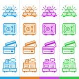 Διανυσματικό σύνολο γραμμικών εικονιδίων, χρηματοδότηση, κατάθεση Κατάλληλος για το websi Στοκ Εικόνα