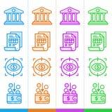 Διανυσματικό σύνολο γραμμικών εικονιδίων, χρηματοδότηση, κατάθεση Κατάλληλος για το websi Στοκ φωτογραφίες με δικαίωμα ελεύθερης χρήσης