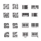 Διανυσματικό σύνολο γραμμωτών κωδίκων και κώδικα QR Στοκ Εικόνα